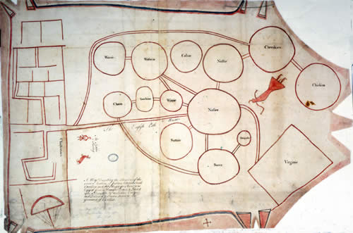 [ca. 1721]: A Map Describing the Situation of the several Nations of Indians between South Carolina and the Massisipi River; was Copyed from a Draught Drawn & Painted upon a Deer Skin by an Indian Cacique: and Presented to Francis Nicholson Esqr. Governor of Carolina. [The assigned date follows Waselkov. Cumming places this map ca. 1724.] [Reproduced in Hulbert (1907-16), ser. III, pl. 7-8.] [Public Record Office (UK), CO 700 / North American Colonies General 6/1.] [Formerly Colonial Office Library (London), North America 6.]