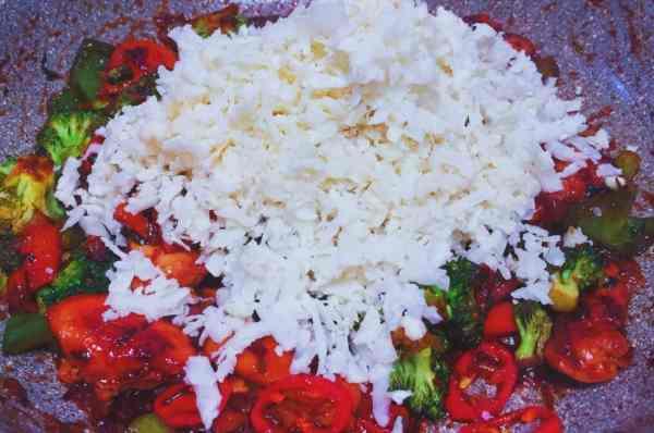 Add the white cauliflower to Chinese chicken fried rice