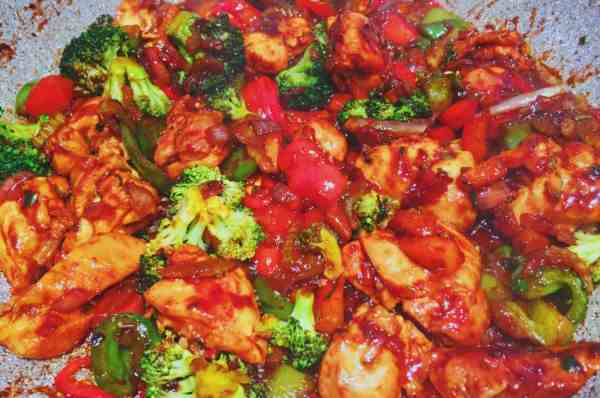 Chinese fried rice mixture prior to adding the cauliflower
