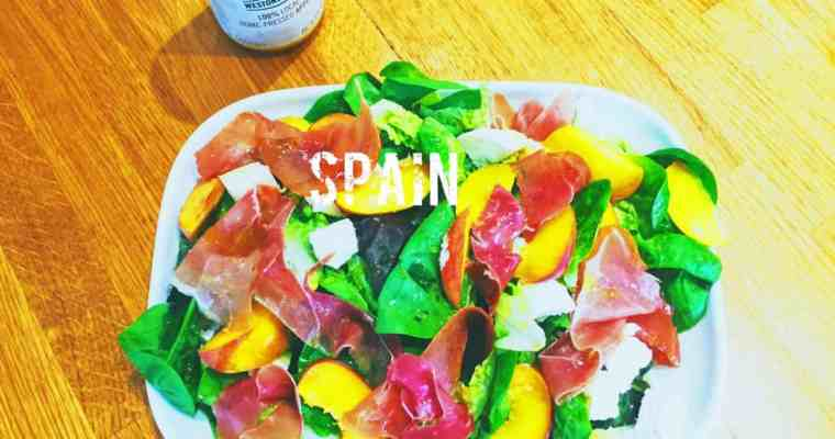 Serrano Ham, Goats Cheese and Peach Salad | ensalada de Serrano, queso de cabra y melocotón | What is the national dish of Spain?