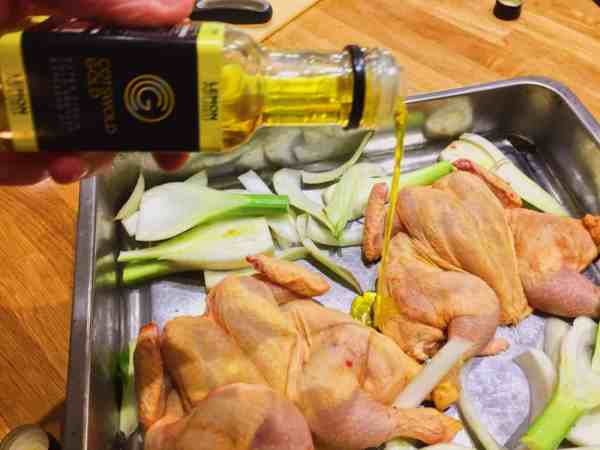 Lemon infused Cotswold Gold Rapeseed oil works wonders when roasting
