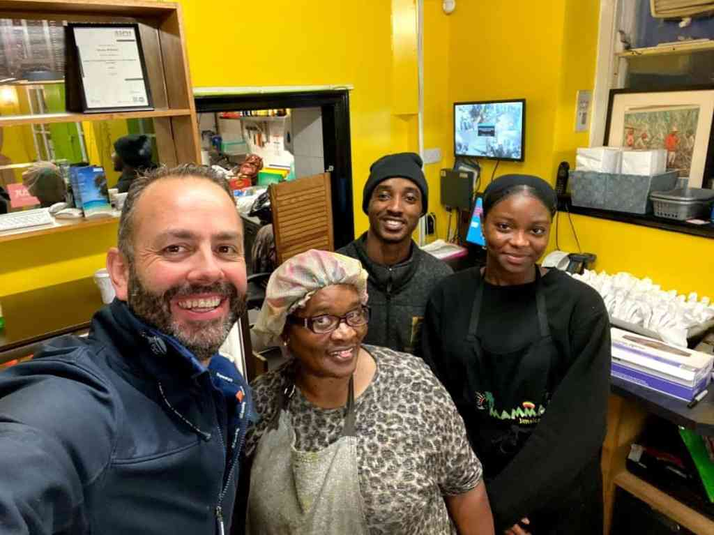 Mamma P the jerk guy and friendly waitress Jamaican Food Fishponds Bristol Review
