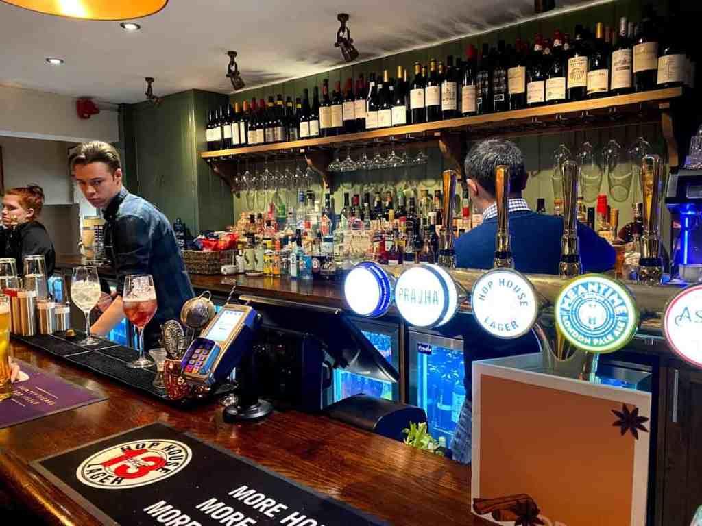 The bar in The Kings Head in Prestbury, Cheltenham