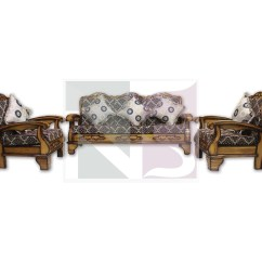 Solid Wood Sofa Set Fold Flat Bed Teak 5 Seater