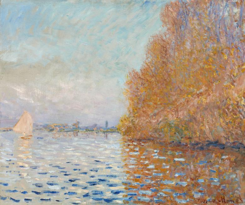 Argenteuil Basin With Single Sailboat Claude Monet