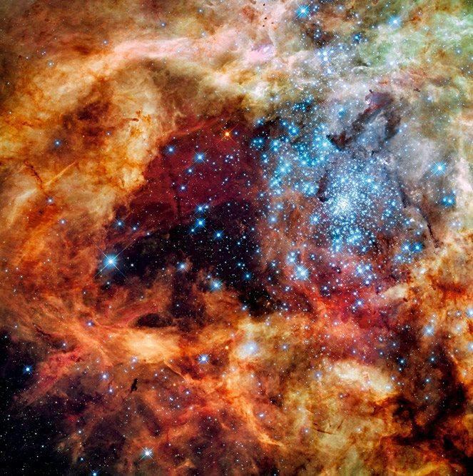 Un cúmulo de estrellas jóvenes ilumina un hueco entre los remolinos de polvo de la nebulosa de la Tarántula