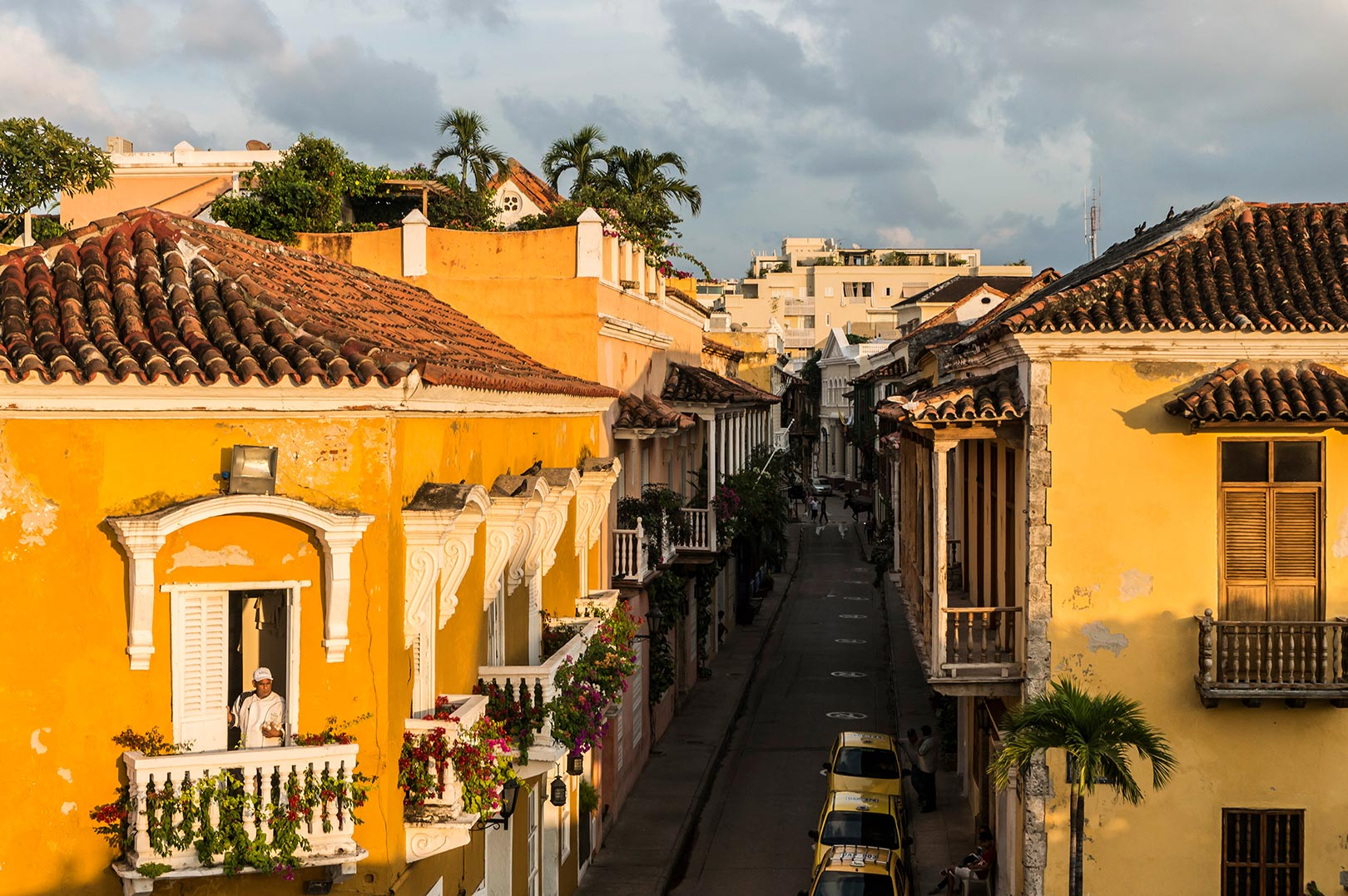 Picture of colonial buildings at sunset in old town Cartagena, Colombia