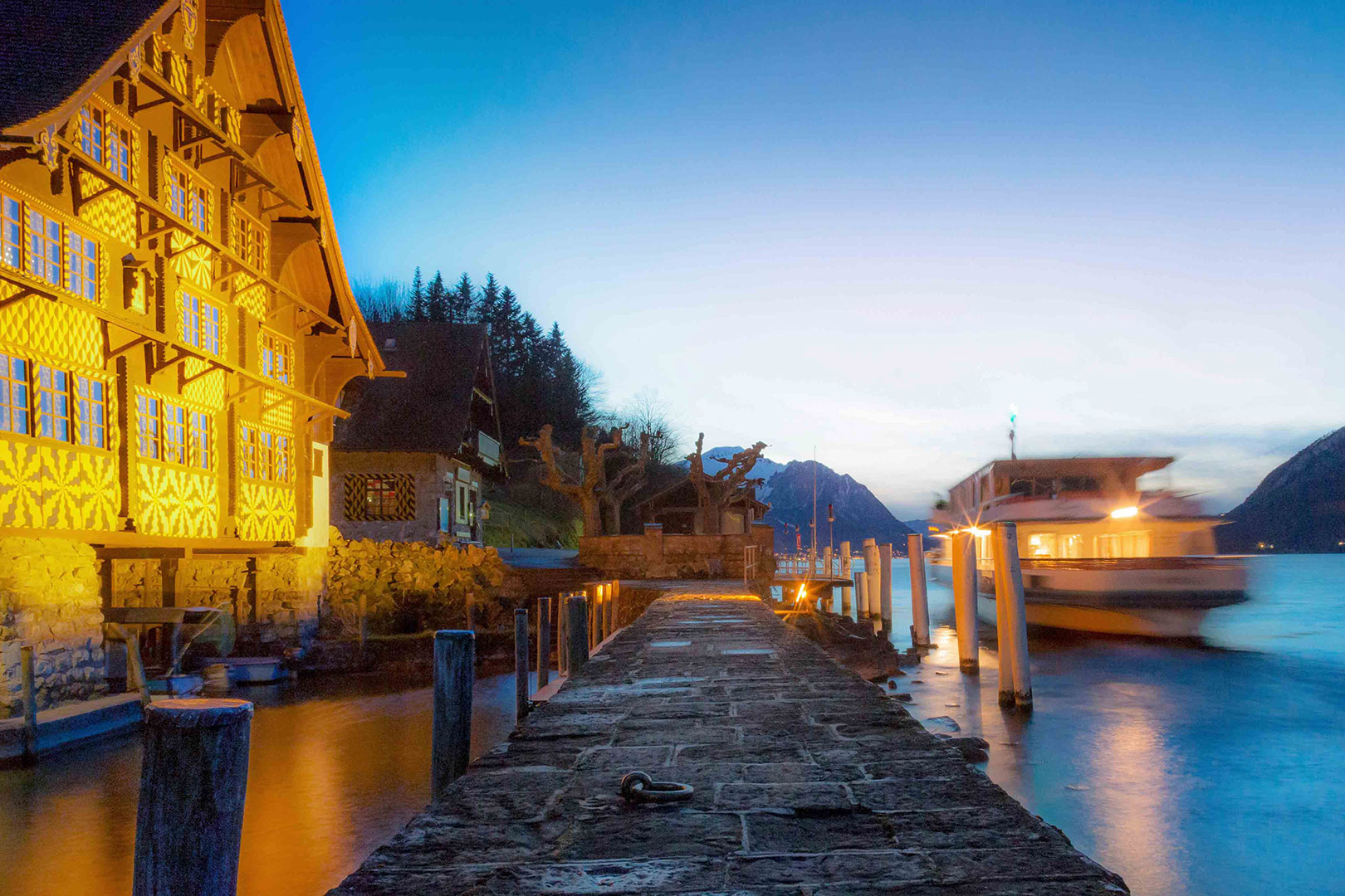 Picture of a dock at dusk on Lake Lucerne, Canton Uri, Switzerland