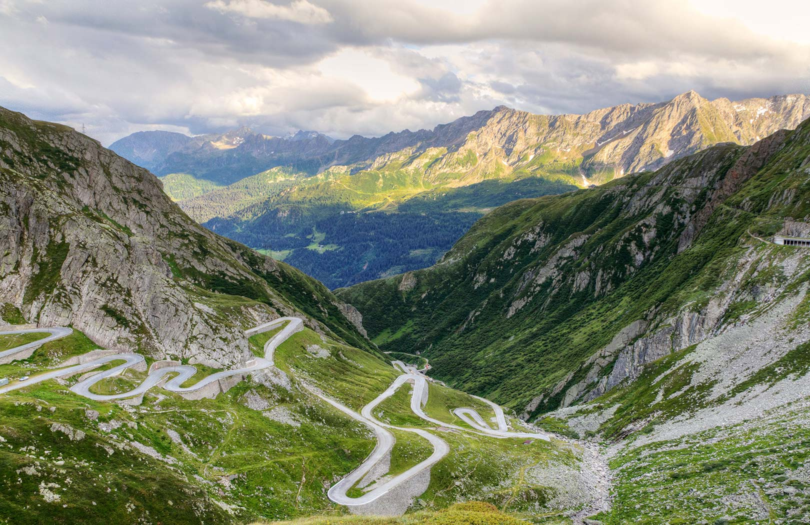 Picture of a curving road along the Saint Gotthard Pass, Canton Uri, Switzerland
