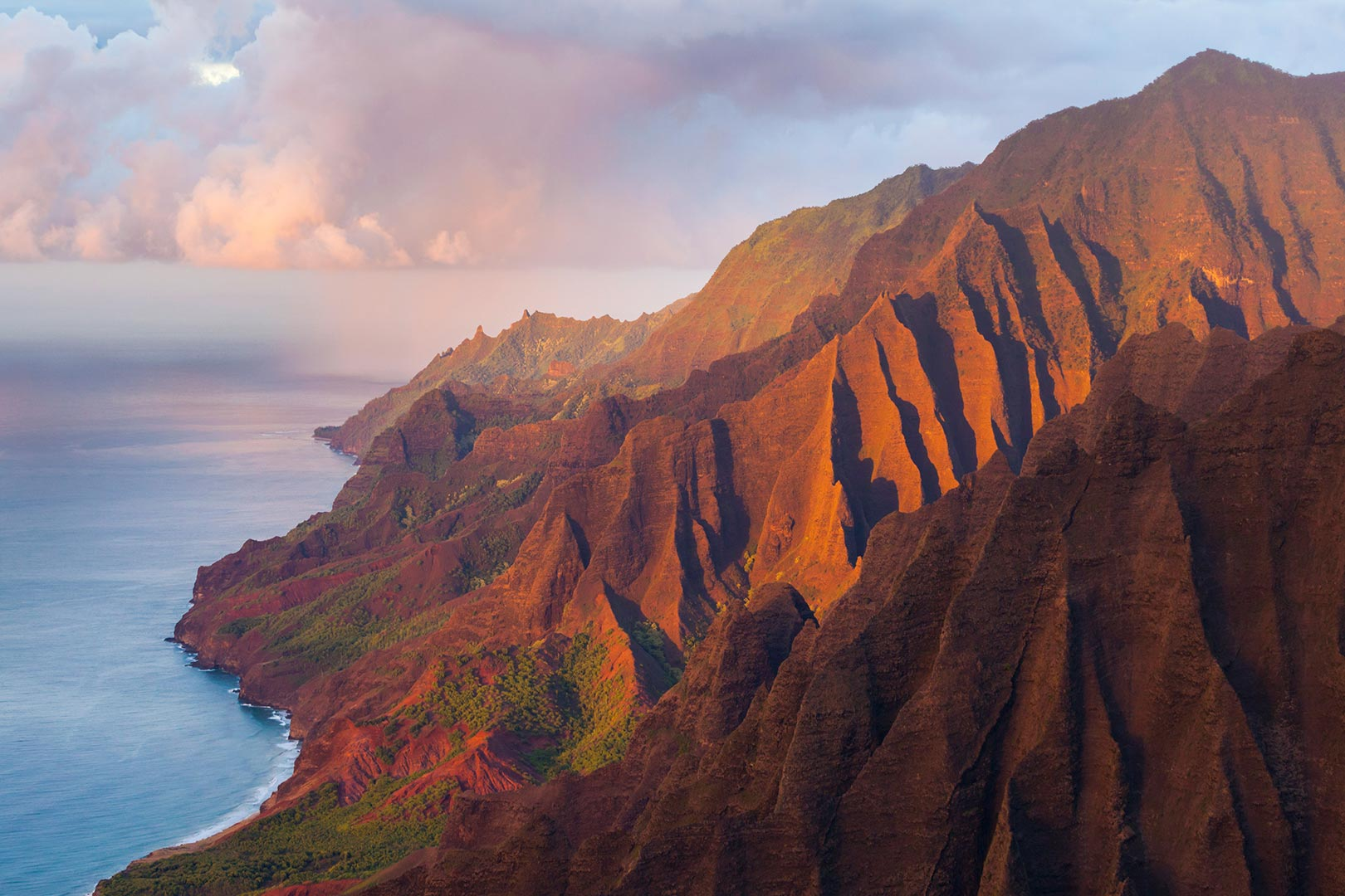 Picture of fluted cliffs at sunset on the Na Pali Coast, Kauai, Hawaii