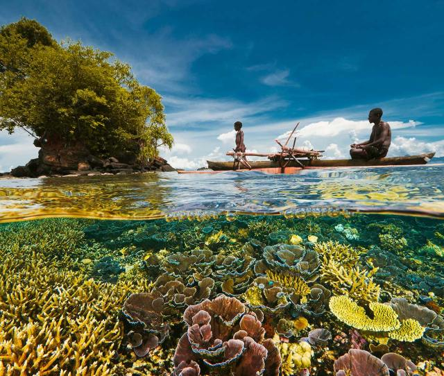 Picture Of Fisherman In A Boat In Kimbe Bay Papua New Guinea