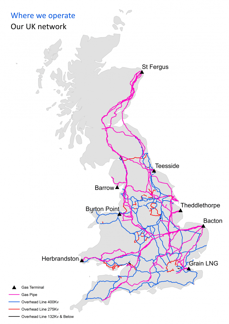 a grey map of britain on a white background showing where national grid s gas and electricity [ 762 x 1078 Pixel ]