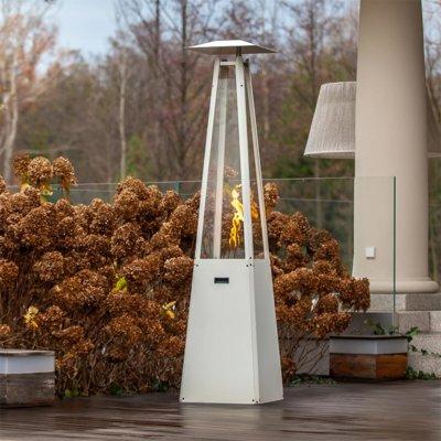 kratki umbrella real flame pyramid patio heater white with brackets