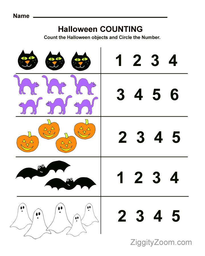 Halloween Preschool Worksheet for Counting Practice