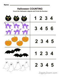 Halloween Preschool Worksheet for Counting Practice ...