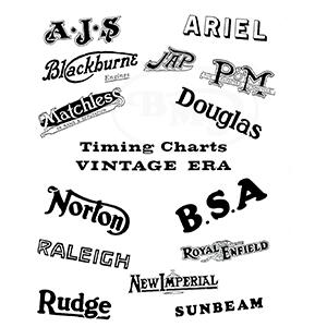 BSA 1914 to 1931 Timing Charts Vintage Era. LION/3237