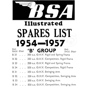 BSA 1954 to 1957 Illustrated Spare Parts Manual. 350/500cc