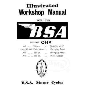 BSA 1955 to 1958 Workshop Manual. 497cc A7 A7SS and 646cc