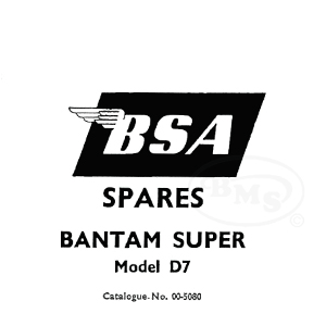 BSA 1959 to 1961 Illustrated Spare Parts Manual. 173cc D7