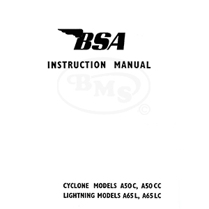 BSA 1964 to 1965 Instruction Manual Cyclone models A50C
