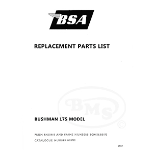 BSA 1969 to 1971 Illustrated Spare Parts Manual. 173cc