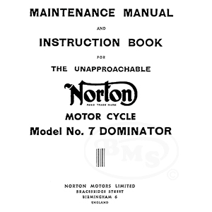 Norton 1953 to 1954 Instruction Manual. Covers 497cc model