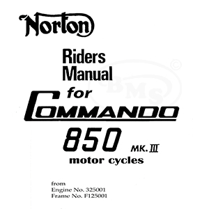 Norton 1975 to 1977 Instruction Manual. 828cc Commando MK3