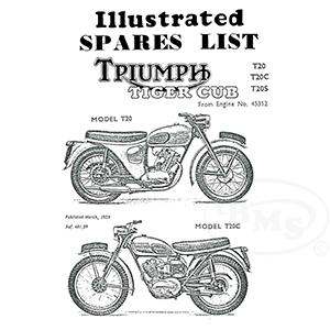 Triumph 1959 Illustrated Spare Parts Manual 199cc T20 T20C