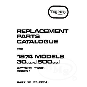 Triumph 1973 to 1974 Illustrated Spare Parts 490cc T100R
