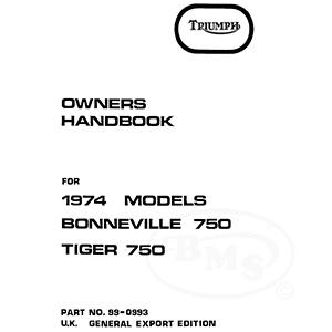 Triumph 1974 Instruction Manual for Bonneville 750 and
