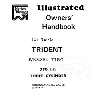 Triumph 1975 Instruction Manual 741cc T160 Trident Triple