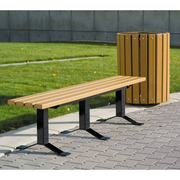 6 Bollard Style Backless Wood Bench - Surface And Inground Mount