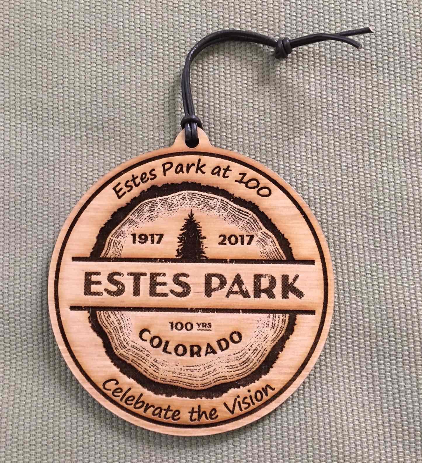 Estes Park Centennial Ornament - Leather Loop