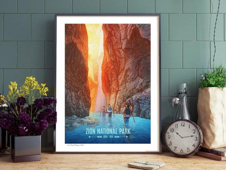 National Parks Art after framing