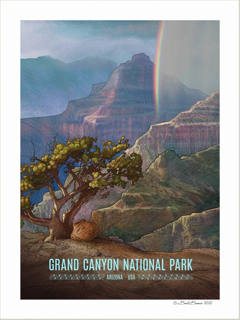 An vintage WPA style poster of Grand Canyon National Park.