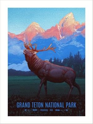 A Teton National Park art print for National Parks Company by Bart Bemus
