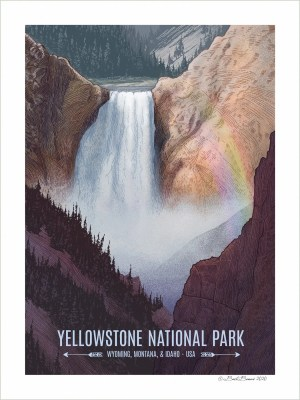 A Yellowstone National Park art print of the Yellowstone Lower Falls.