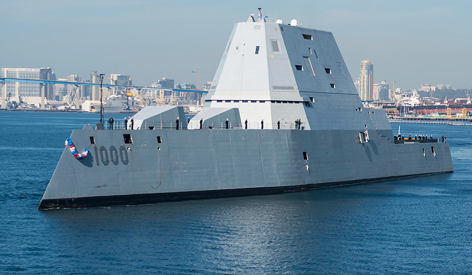 USS Zumwalt Arrives In Its Homeport Of San Diego. (Photo: Petty Officer  Third Class Emiline L. M. Senn) ...