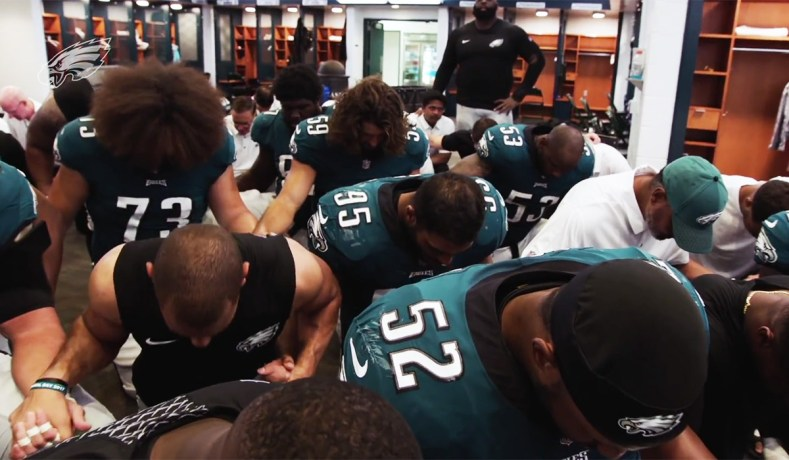 """488bbd22369 Philadelphia Eagles players in the team's """"Binding Force"""" video (via YouTube)  ..."""