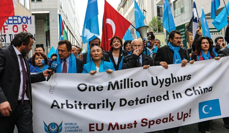 Uyghurs in exile, rallying in Brussels on April 27, 2018 (World Uyghur  Congress)