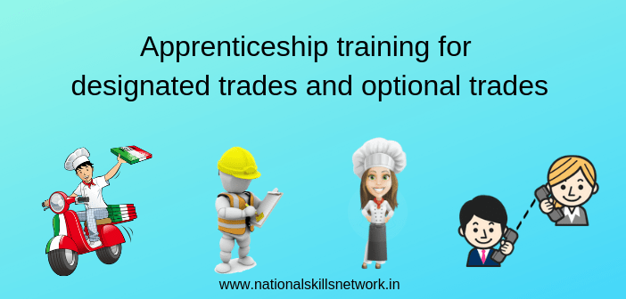 Apprenticeship training for designated trades and optional trades