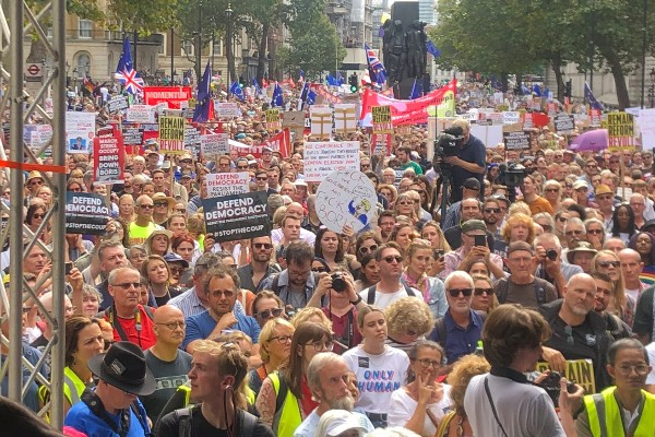 Protests across Britain against Johnson's suspension of