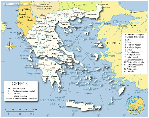 Administrative Map of Greece Nations Online Project