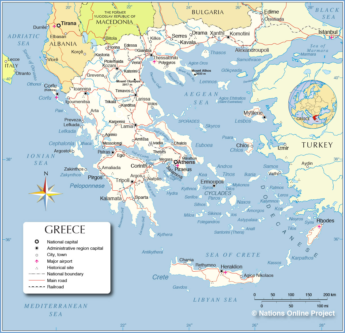 Political Map Of Greece
