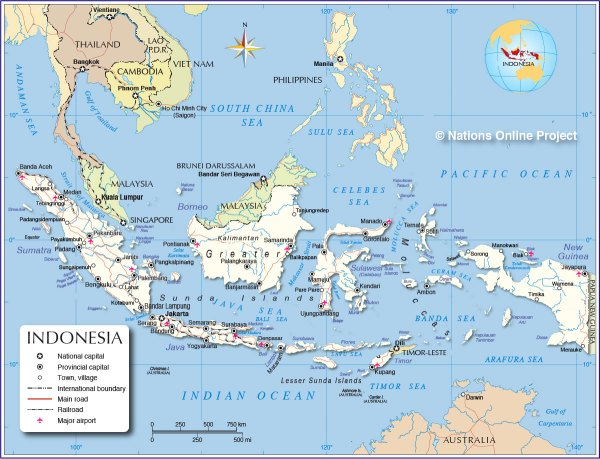 Political Map of Indonesia Maritime Southeast Asia