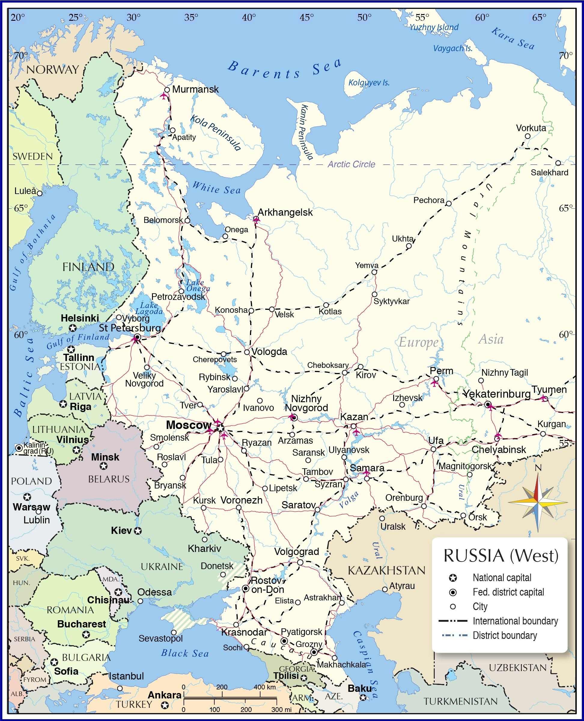 Map Of European Russia