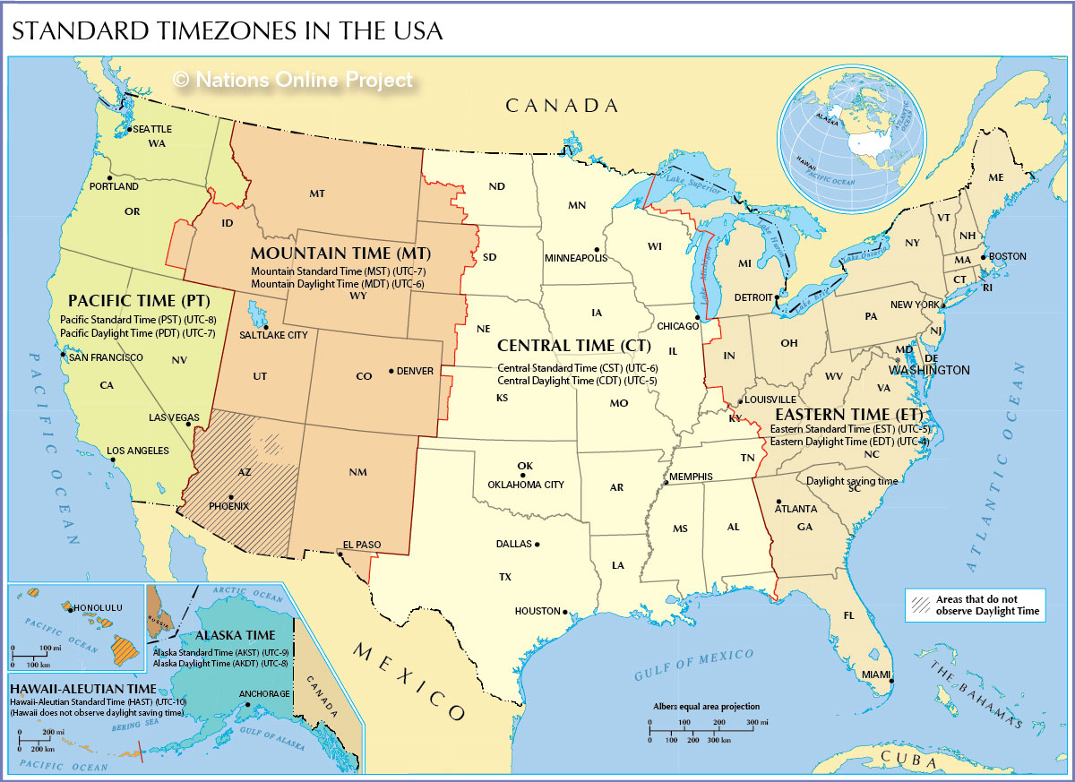 Time Zone Map of the United States - Nations Online Project