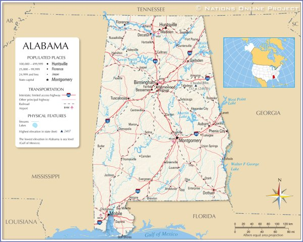 Maps of Alabama State USA Nations Online Project