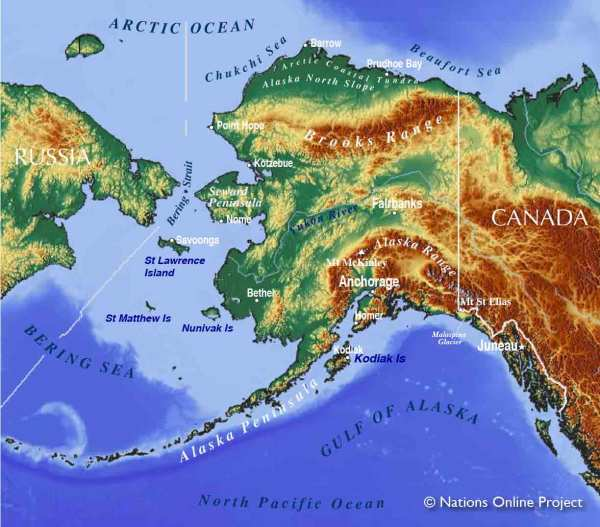 Map of Alaska State USA Nations Online Project