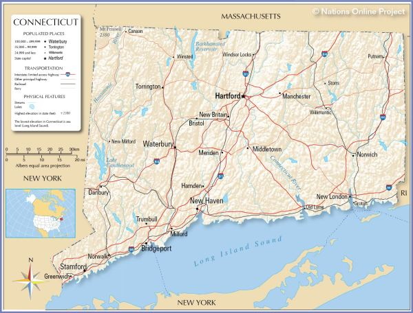 Reference Maps of Connecticut USA Nations Online Project